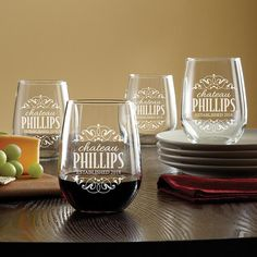 Need a unique gift? Send Decorative Label Stemless Wine Glasses - Set of 4 and other personalized gifts at Personal Creations. Bar Gifts, Wine Gifts, Wine Safari, Wine Country Gift Baskets, Wine Glass Rack, Wine Racks, Safe Glass, Expensive Wine, Wine Bottle Labels