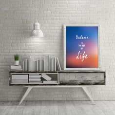 Balance Is The Key Of Life,Sunset Background Typography Print,Motivational Life Quote,Colorful Wall Decor,Instant Download,Inspirational Art by InspirationsByJason on Etsy