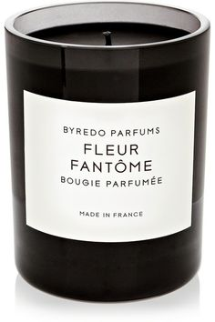 Byredo Fleur Fantome candle - Inspired by a garden in bloom, Swedish fragrance house Byredo's 'Fleur Fantôme' scented candle is blended with notes of Rhubarb, Lemon Petitgrain Leaves and Tulip, underscored with Heliotrope and Suede.