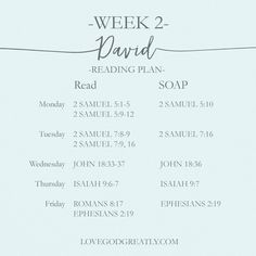 {Week 2 - Reading Plan} #David Bible Study @ LoveGodGreatly.com