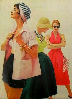 1954 fashion style color photo print ad models magazine casual day wear 50s beach shorts tea timer skirt halter dress red yellow pink black hat scarf