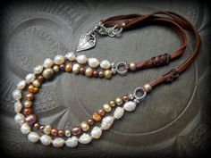 Pearls Freshwater Baroque Rustic Boho Leather Beaded by YuccaBloom
