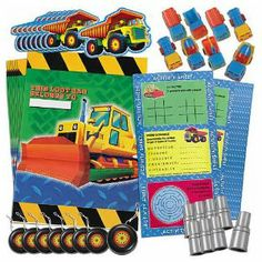 """Keep On Truckin' Favor Pack (48 pc) by Amscan. $3.99. Assorted Vehicle Theme Favors.. Favors vary in size from 1"""" to 3"""". Enough favors to evenly fill 8 loot bags (Sold separately). 48 Piece Set. Looking for the perfect party favors for car and truck fans? This Keep On Truckin' Favor Pack is perfect for little car lovers. Filled with fun party favors everyone is sure to love! This package contains 8 maze puzzles, 8 yo-yos, 8 spinning tops, 8 puzzle watches, 8 siren whistles and 8 ..."""