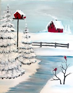 Cozy cabin in winter. Learn a couple of fun techniques with this fun painting with winter trees.