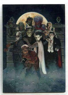 Universal Monsters - Complete 10 Card Monsterchrome Set - Topps 1994 | eBay Classic Monster Movies, Classic Horror Movies, Classic Monsters, Horror Icons, Horror Movie Posters, Movie Poster Art, Film Posters, The Frankenstein, Horror Artwork