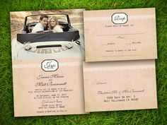 Wedding Invitation and RSVP Card Suite - Vintage Rustic Lace Photo Customizable Double Sided Print. $1.88, via Etsy.