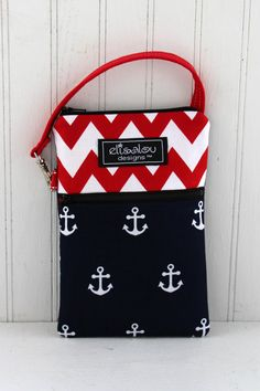 Red Chevron & Anchors Away 2 Pocket Padded Gadget by ElisaLou