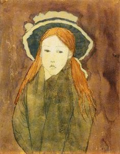 labellefilleart:   Little Girl Wearing a Large Hat, Gwen John