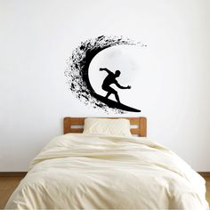 Surfer Surfing Vinyl Wall Decal Sticker Graphic Made from 10 year high quality vinyl which leaves no residue upon removal. Some decals may arrive in multiple pieces due to the size of the design. Meas