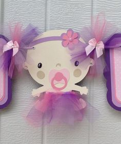 Baby shower banner, baby with tutu, its a girl banner, pink, purple, lilac, handmade banner, etsy, NancysBannerBoutique,