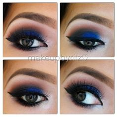 Blue smokey eye using mostly UD's #VicePalette   1⃣ Prime your lids with UDPP 2⃣ Mix  MAC's rule e/s with saddle e/s and sweep onto the crease  3⃣ Apply @Urban Decay 's Chaos e/s to the lid. To intensify the color, spray with Fix +  4⃣  Apply @Urban Decay 's anonymous eyeshadow near the tear ducts and underneath the brows. 5⃣ Darken the outer corner with @Urban Decay 's black market e/s 6⃣ Line your top lids and lower water line. I used NYC liquid liner & Victoria's Secret penc...