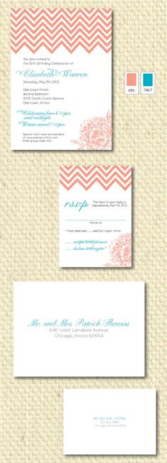 Birthday Party Invites with envelopes... Can easily be used for #Wedding tho! CT-Designs.com #Coral #Teal #Chevron
