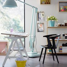 Tilting desk good for art.ByALEX white desk has a handy tilting worktop and pen tray that allow for a flexible working environment from Occa Home Home Office Space, House Design, Decor, Furniture, House, Home, Interior, Workspace Inspiration, Home Decor