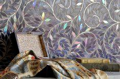 Jacqueline Vine shown in Amethyst glass. (New Ravenna Mosaics Available at Decorative Materials. Mosaic Art, Mosaic Glass, Mosaic Tiles, Stained Glass, Tile Art, Mosaic Company, Ravenna Mosaics, New Ravenna, Mosaic Backsplash