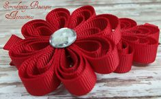 cute flower clip from ribbon