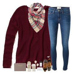 """""""Fall, fall, and more fall"""" by classyandsassyabby ❤ liked on Polyvore featuring Hollister Co., Frame Denim, L.L.Bean, Byredo, Bobbi Brown Cosmetics, Kendra Scott, Kate Spade, SONOMA Goods for Life, katespade and plaid"""
