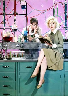 Jerry Lewis and Stella Stevens for The Nutty Professor, 1963. Via http://hollywoodlady.tumblr.com/
