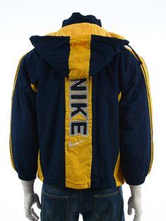 618454208dd04 Vintage 80s Adidas Trefoil windbreaker jacket Big logo Spell out Navy Blue  Size L