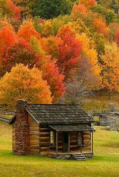 Richard Hogg Photography: Cabin in Fall Colors. Cabin in Fall Colors - Photographed at Grayson Highlands State Park, Virginia. Posted by Richard Hogg Autumn Scenes, Summer Scenes, Fall Pictures, Old Barns, Cabins In The Woods, Beautiful Landscapes, Old Houses, Nature Photography, Landscape Photography