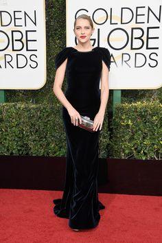 Teresa Palmer in Armani Prive at the Golden Globes 2017 Red Carpet Arrivals