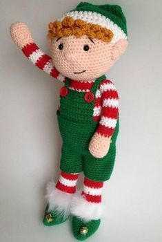 Heart & Sew: Christmas Elf - Free Crochet / Amigurumi Pattern - Buddy The Elf Crochet Christmas Ornaments, Christmas Crochet Patterns, Holiday Crochet, Christmas Knitting, Crochet Patterns Amigurumi, Christmas Elf, Crochet Dolls, Cat Amigurumi, Crochet Snowflakes