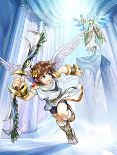 "Promotional artwork of Pit and Palutena in ""Kid Icarus: Uprising,"" a rail-shooter released by Nintendo for the in 2012 Video Game Posters, Video Game Art, Video Games, Pc Games, Super Mario, Viewtiful Joe, Game Character, Character Design, Kid Icarus Uprising"