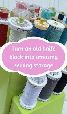 Turn an old knife block into amazing sewing storage  http://www.hometalk.com/l/CmN