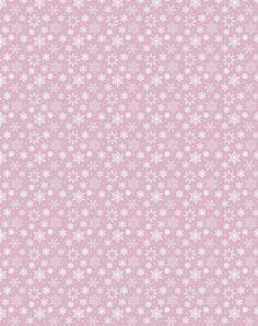 Papier rose avec flocons de neige blanc