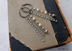 Sterling Hoop Dangling Earrings with vintage rhinestone and glass pearls