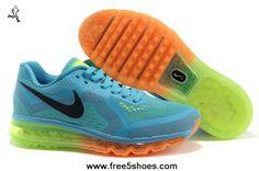 separation shoes 3283b 9740e Womens Nike Air Max 2014 621078-411 Blue Orange Black Shoes Fashion Shoes  Shop Nike