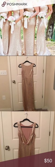 Lulu's rose gold sequin gown Full length sequin gown in rose gold. Size small. Worn once. Excellent condition!! Great for a wedding or NYE!! Lulu's Dresses