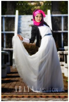 Hijjab, White Long Dress