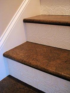 Textured Wallpaper stair risers, plus paper bag steps