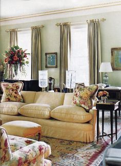 Pops of color in a fairly neutral room
