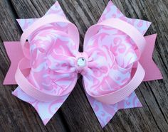 PINK and WHITE Damask Hair Bow Boutique Style Easter Hair Bow with Gem Center Infant Toddler Girls Spring Summer Easter Bow. $7.99, via Etsy.