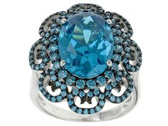 Bella Luce (R) 11.52ctw Neon Apatite Simulant Black And White Rhodium Over Sterling Silver Ring