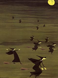 A Woggle of Witches: Artist - Adrienne Adams  Via: The Pumpkin Season - When Witches Fly