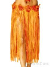 Hawaiian Skirt, Orange and Red with Flowers. a colourful skirt to enjoy a Hawaiian Party. http://www.novelties-direct.co.uk/hawaiian-skirt-red-orange-velcro-new-pe-material-3.html