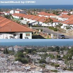 These two photos are of the same city, Neve Dekalim. The top photo shows the beautiful, coastal town when the Jews of Gush Katif lived there, and the bottom photo shows the destruction and devastation of that same city upon Israel's disengagement from Gaza. 'Christian Friends of Israeli Communities' is doing everything they can to assist and support the refugees from Gush Katif.