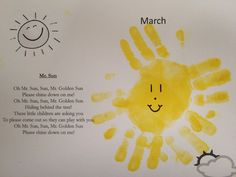 """Sun"""" song and handprint craft Preschool Weather, Preschool Colors, Preschool Songs, Kids Songs, Preschool Projects, Daycare Crafts, Classroom Crafts, Classroom Ideas, Daycare Themes"""