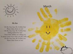 """Mr. Sun"" song and handprint craft"