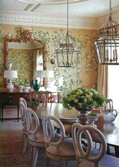 Amy Vermillion Interiors Blog-Barry Dixon..... Hanging lights and centerpiece!!!!