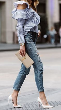 stripe ruffle shirt. denim. heels. street style.