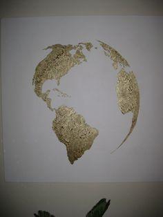 Hand painted map of the world White and Bronze by 10kiaatstreet, $325.00