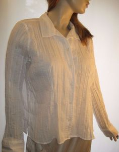 Christopher & Banks Size Large White Crinkle Button Front Long Sleeve Blouse #ChristopherBanks #ButtonDownShirt #Casual