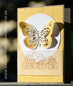 Watercolor Wings - Geburtstagsgrüße für alle - Framelits Schmetterlinge - Prägefolder Große Punkte Safran-Osterglocke-Taupe