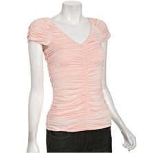 Casual Couture by Green Envelope pale pink ruched jersey v-neck top