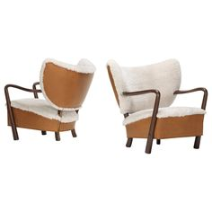 Pair of Lounge Chairs Attributed to Viggo Boesen in new Leather and Sheepskin ca.1940