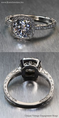 The Aurora design displays heirloom quality elements of hand wrought filigree on the sides of the squared, micro pavé bead set diamond halo. The alluring hand engraving cascades down both ring faces and the 1.25 carat round brilliant cut center diamond is secured by four beveled prongs. This design can be made for any type, shape, or size center stone.