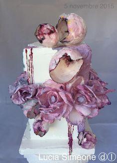 symposium pink - Cake by Lucia Simeone Wafer Paper Flowers, Wafer Paper Cake, Sugar Flowers, Elegant Cake Design, Nature Cake, Gorgeous Cakes, Amazing Cakes, Purple Cakes, Hand Painted Cakes